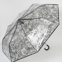 New Look Clear Sketchy Floral Umbrella at asos.com