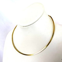 Gold wire choker, square brass wire neck piece, gold pendant slide, gift under 30