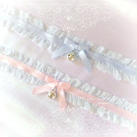Kitten Pet Play Cat Collar Choker Necklace Pale Blue Lace Ruffles Pink Satin Bow Bell kitty pastel goth Lolita Neko BDSM DDLG