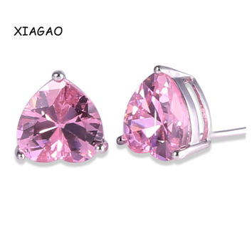 XIAGAO Pink Ruby Black Korean Fashion Jewelry Heart Earing Women 18K White Gold Plated Crystal Cubic Zirconia Stud Earrings E020