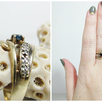 Vintage Ring: 10k Gold with Sapphire and Diamonds