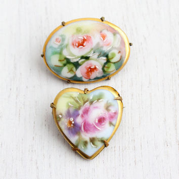 Antique Victorian Porcelain Flower Brooch Lot - 2 Edwardian Pink Rose Jewelry Pins, Hand Painted Enamel / Romantic Floral