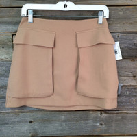 MINI SKIRT W/ POCKETS - TAUPE