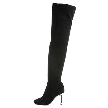 Jeffrey Campbell for Women: Peligro-OK Black Suede Thigh-High Heeled Boots