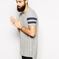 ASOS Super Longline T-Shirt With Baseball Stripes And Twisted Yarn Skater Fit