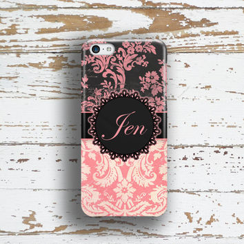 Elegant Iphone 6 + case, Iphone 5c case, Floral iPhone 5s case, Monogram iPhone 6s case, Womens winter accessory, Grunge pink black (9944)