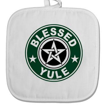 Blessed Yule Emblem White Fabric Pot Holder Hot Pad by TooLoud