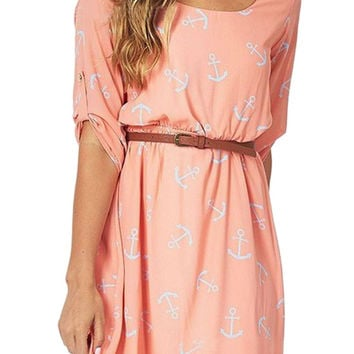Pink Anchor Printed Mini Dress With Belt