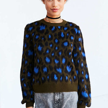 Ecote Brushed Leopard Crew-Neck Sweater | Urban Outfitters