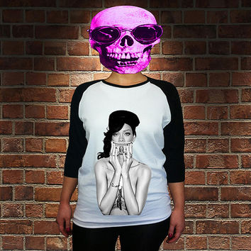 worldwide shipping just 7 days retro RIHANNA women baseball shirt 40245