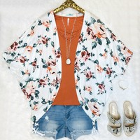 Content with You Floral Print Kimono