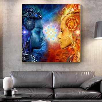 Tantra Shiva And Shakti Wall Art Canvas Prints Hindu Gods Pop Art Posters On The Wall Paintings Cuadros Pictures For living Room