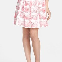 RED Valentino Butterfly Print Pleated Skirt
