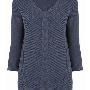 Cable Cotton V Neck Jumper