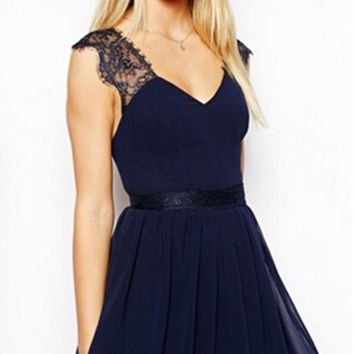 Navy Blue Lace V-Neck Backless Chiffon Dress