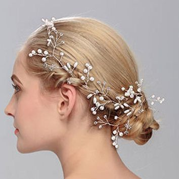 Fashion Women Silver Wedding Pearls Hairpins Crystal Vine Bridal Head Wear Hair Accessories Diamond Headpiece