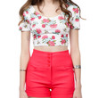 LE3NO Womens Fitted Short Sleeve Floral Print Crop Top with Stretch