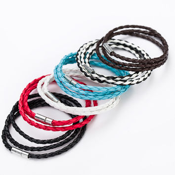 6 Color Multilayer String Leather Bracelets For Women Red Strap Braided Thread Female Bracelet Jewelry Pulseira Feminina B0063