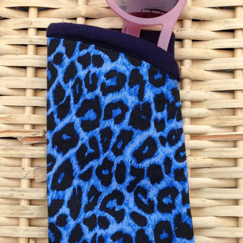 Vintage Blue Leopard Cheetah Print Sunglasses Eyeglasses Glasses Case Retro