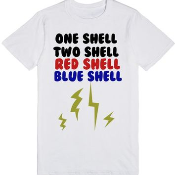 One Shell, Two Shell. Red Shell, Blue Shell. Tee