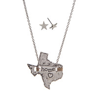 Texas Home State Necklace with Earrings in Silver