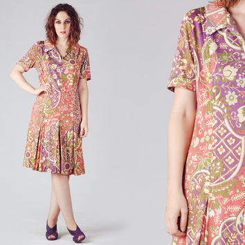 70s Psychedelic Midi Dress / Floral Open Collar Dress / Pleated Pink and Lilac Short Sleeve Dress