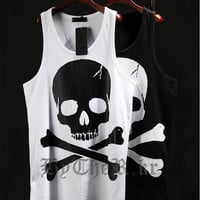 Brand Harajuku Skull Punk Men Gym Singlets Hip Hop Tank Top Sleeveless Shirt Sports Vests Muscle Mens Tank Tops Bodybuilding