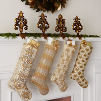 Kim Seybert Golden Christmas Stockings