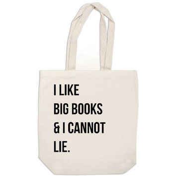 canvas tote bag I Like Big Books and I Cannot by ExLibrisJournals