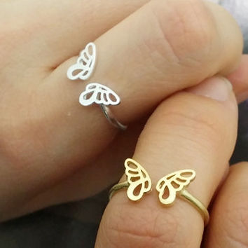 Butterfly Wings Ring, Butterfly Ring, Angels Wings Ring, Angel Ring, Cute Ring, Unique Ring, Adjustable Ring, Girls Jewelry, Knuckle Ring