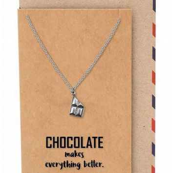 Delaney Chocolate Bar Pendant Necklace Inspirational Gifts for Women with Greeting Card