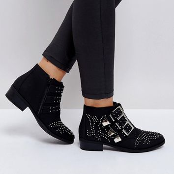 Truffle Collection Western Stud Buckle Boots at asos.com