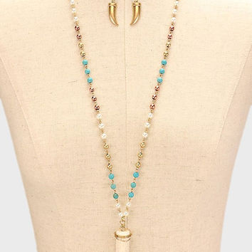 Gold, Turquoise & White Horn Bead Long Necklace and Earring Set