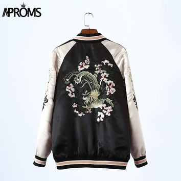 Fashion 2017 Autumn Vintage Embroidered Bomber Jacket Women basic coats Both Sides Jackets Winter Pilots Outerwear