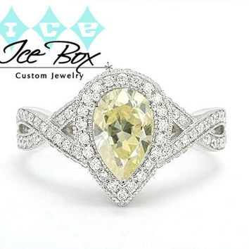 Moissanite Engagement Ring 6 x 9mm 1.5ct Light Yellow Pear Cut Moissanite in a 14K White Gold Diamond Halo Twist Shank Setting