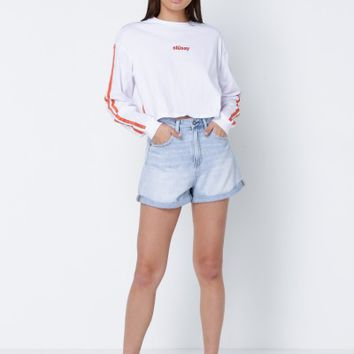 Stussy Reflections Long Sleeve Crop T-Shirt in White