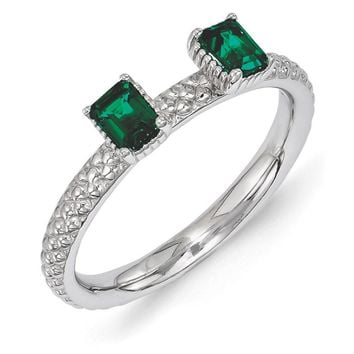 Sterling Silver Stackable Created Emerald Octagon Two Stone Ring