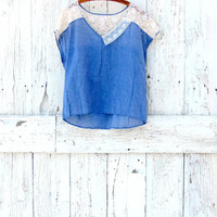 Upcycled Top- chambray and lace blouse- joy graphic indie fashion- eco clothing for women- blue shirt
