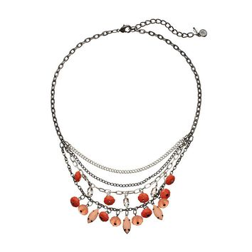 Simply Vera Vera Wang Bead Swag Necklace (Red)
