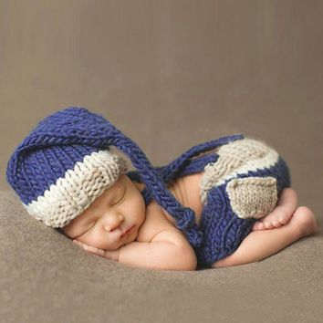 Baby Photo Props Newborn Baby Girls Boys Crochet Knit Costume Photo Photography Prop Pants with Hat