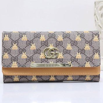 Gucci Bee Fashionable Women Metal GG Letter Leather Buckle Wallet Purse Apricot I