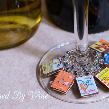 Dr. Seuss Book Wine Charms: Great Gift Idea, Clay Charms, Teacher Gifts