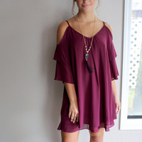 Plum Marmalade 3/4 Sleeve Cold Shoulder Dress With Layered Detail