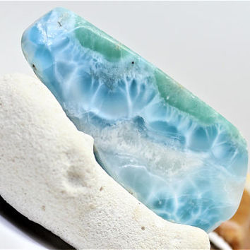 Polished Larimar 26g 130ct Slab Foamy Waves Lapidary Cabbing Display Showcase Caribbean Marbled Sky Blue Pectolite Rough Raw Stone OOAK