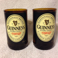 Guinness Beer Bottle Tumbler Drinking Glasses. Man Cave. Recycled Glassware.