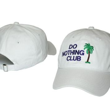 White Do Nothing Club Embroidered Adjustable Cotton Baseball Golf Sports Cap Hat