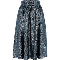 River Island Womens Green sequin A line midi skirt