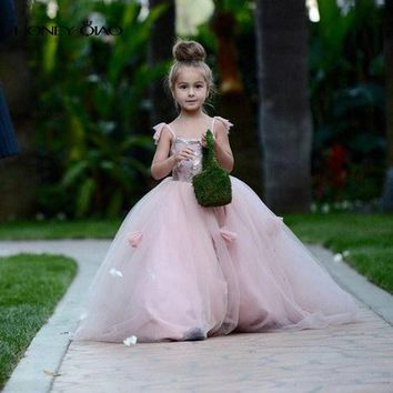 Honey Qiao 2016 Blush Pink Flower Girls Dresses Appliques Spaghetti Straps Ball Gown Ruffles Tulle Pageant Dress for Girls
