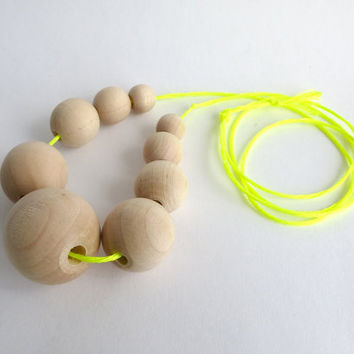 Graduated wood bead necklace, neon yellow cord, natural jewelry, mom necklace