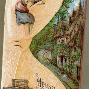 Antique Trade Card Household Sewing Machine Providence RI   (PB #17)